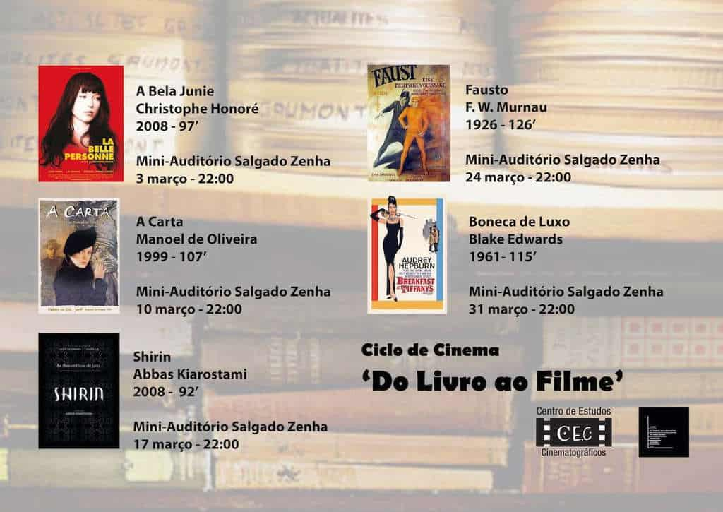 Cartaz Ciclo de Cinema Do Livro ao Filme